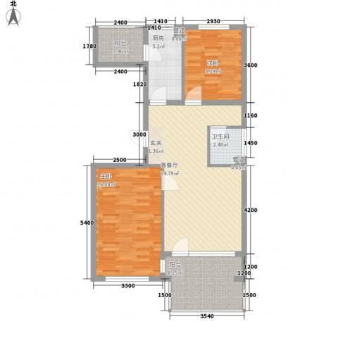 北街家园B区公寓2室1厅1卫1厨99.00㎡户型图