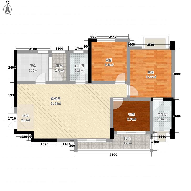 西铁城85.34㎡1栋4号房户型2室2厅2卫1厨