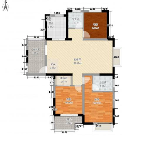 凤鸣公寓3室1厅2卫1厨104.00㎡户型图