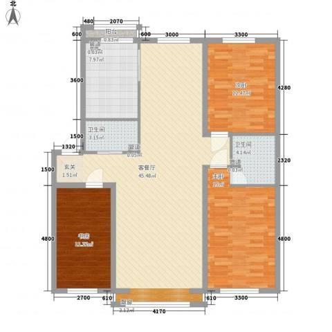 富苑花园3室1厅2卫1厨142.00㎡户型图