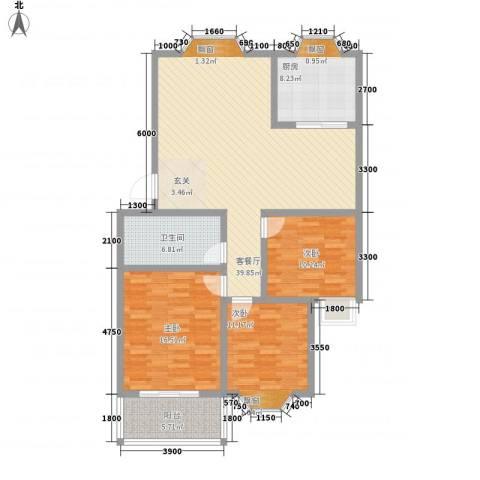 西营小镇3室1厅1卫1厨115.00㎡户型图