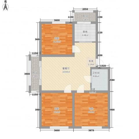 富苑花园3室1厅1卫1厨108.00㎡户型图