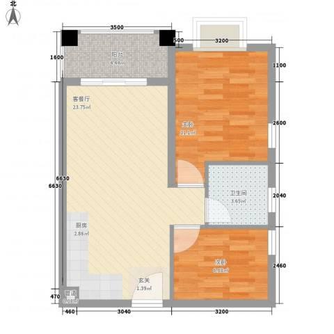 凤凰水城红树湾2室1厅1卫0厨70.00㎡户型图