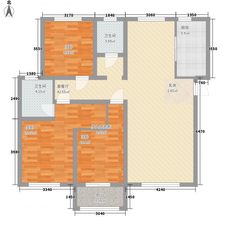 宏宇・亚龙湾135.10㎡D8#ONE单元户型3室2厅2卫1厨