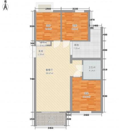 铂金水岸3室1厅1卫1厨76.03㎡户型图