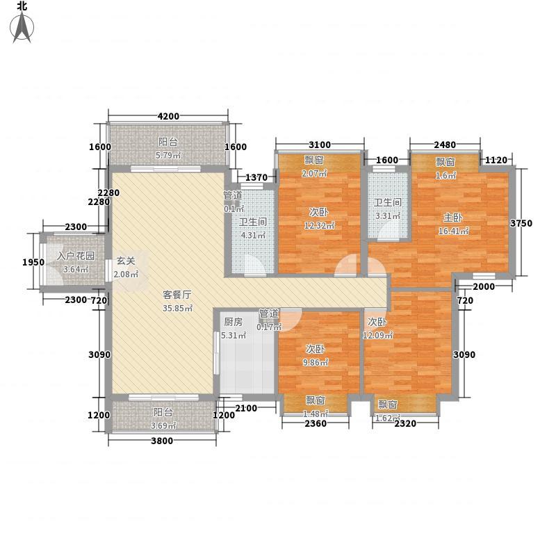 永兴国际城132.00㎡户型4室2厅2卫1厨