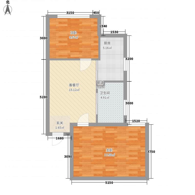 华誉・金融时代广场75.14㎡301+302户型2室1厅1卫1厨
