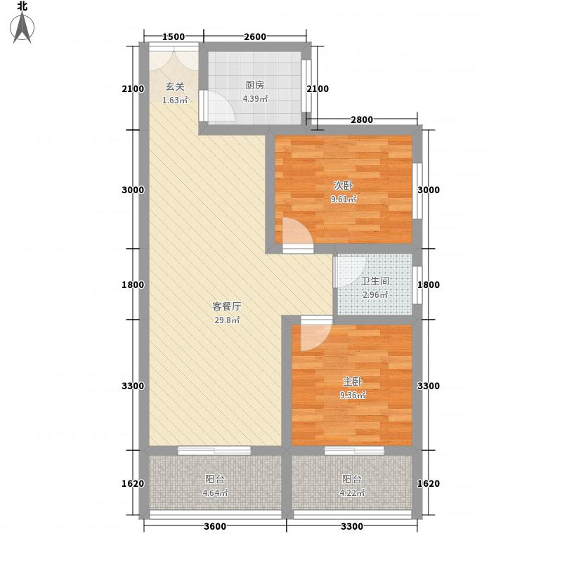 泾泰新居85.75㎡D-1户型2室2厅1卫1厨
