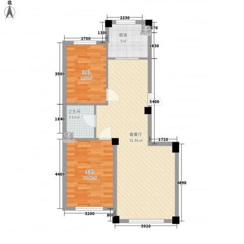 水岸雅居2室1厅1卫1厨84.00㎡户型图