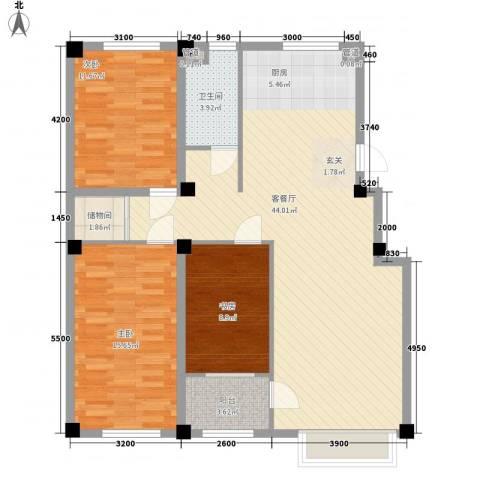 水岸雅居3室1厅1卫0厨115.00㎡户型图