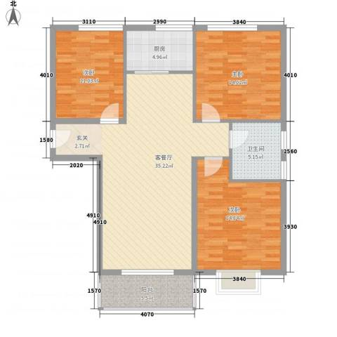 水木清华三期3室1厅1卫1厨126.00㎡户型图