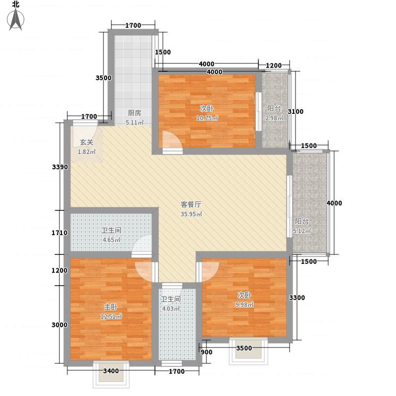 蒸水1号122.65㎡B栋03户型3室2厅2卫1厨