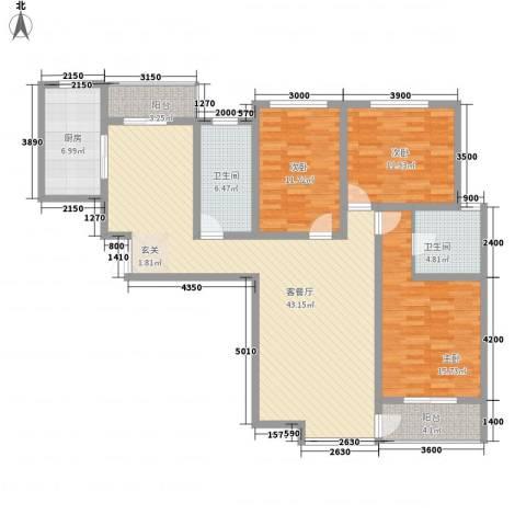 莱茵半岛3室1厅2卫1厨136.00㎡户型图