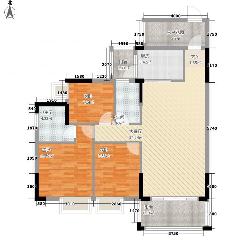 万隆丽景114114.20㎡1/14栋户型3室2厅2卫