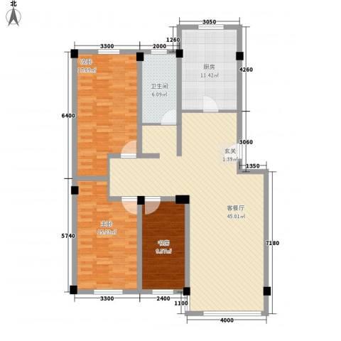 紫金城三期3室1厅1卫1厨104.41㎡户型图