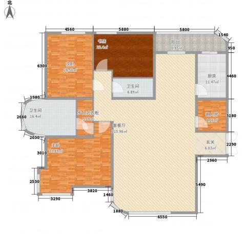 成龙花园3室1厅2卫1厨257.84㎡户型图