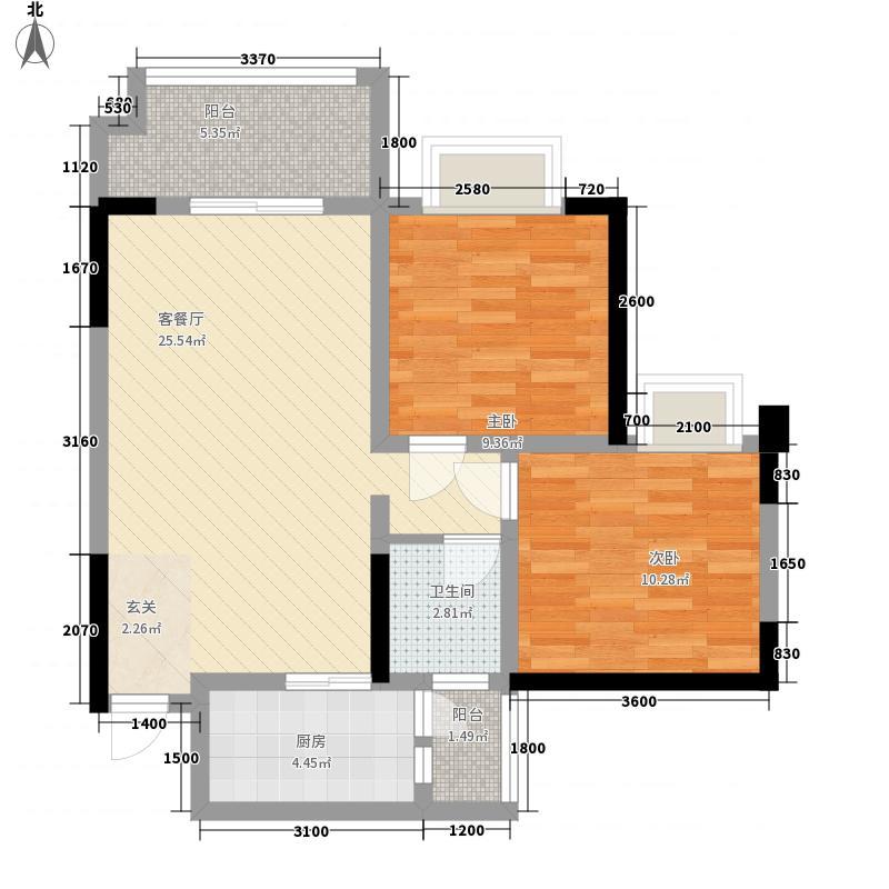 广高新城81.00㎡E4户型2室2厅1卫