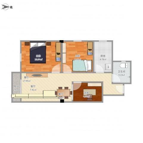 宝穗花园7033室1厅1卫1厨72.00㎡户型图