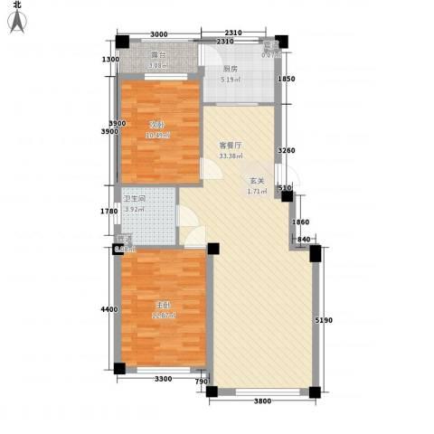 水岸雅居2室1厅1卫1厨89.00㎡户型图