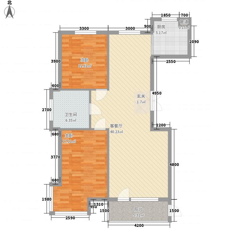 东湖国际122.70㎡三号楼户型2室2厅1卫