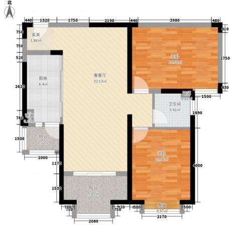 天都首郡2室1厅1卫1厨86.00㎡户型图