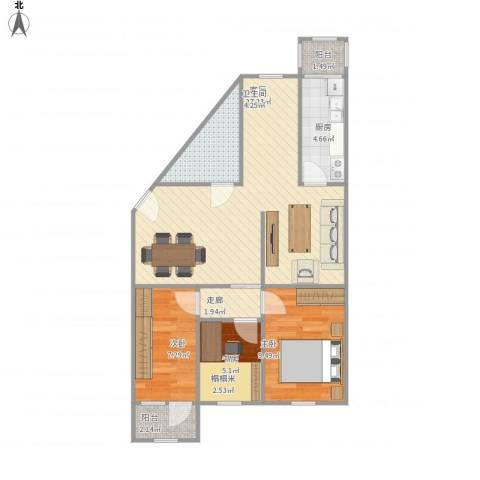 滨河西里北区3室1厅1卫1厨87.00㎡户型图