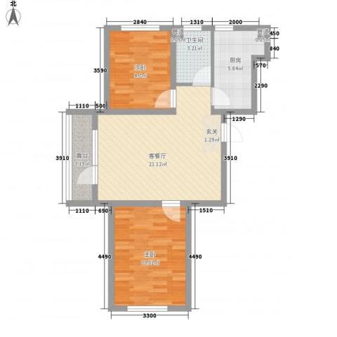 建荣・皇家海岸2室1厅1卫1厨84.00㎡户型图