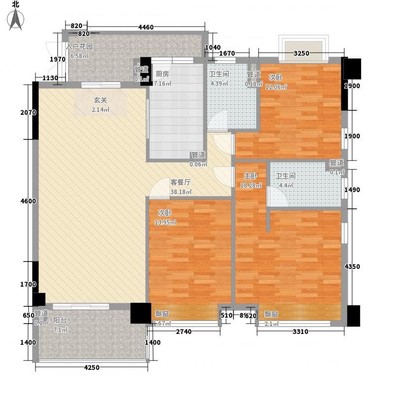 东方华府138.00㎡6栋2单元标准层02+03户型3室2厅2卫1厨