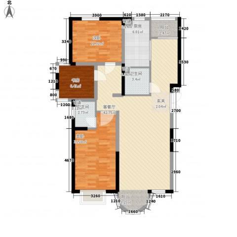 香堤湾3室1厅2卫1厨130.00㎡户型图