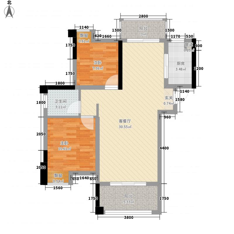 蓝山国际87.00㎡G户型2室2厅1卫1厨