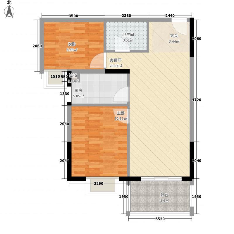 恒通华庭76.00㎡高层B2户型2室2厅1卫1厨