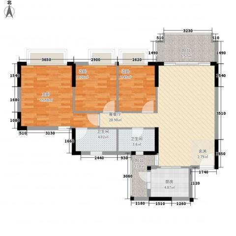 朗晴名门3室1厅2卫1厨117.00㎡户型图