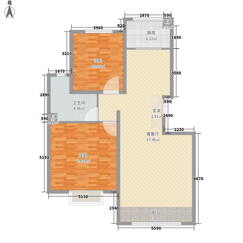 金尊华府15.60㎡丰厚3号楼B户型2室2厅1卫1厨