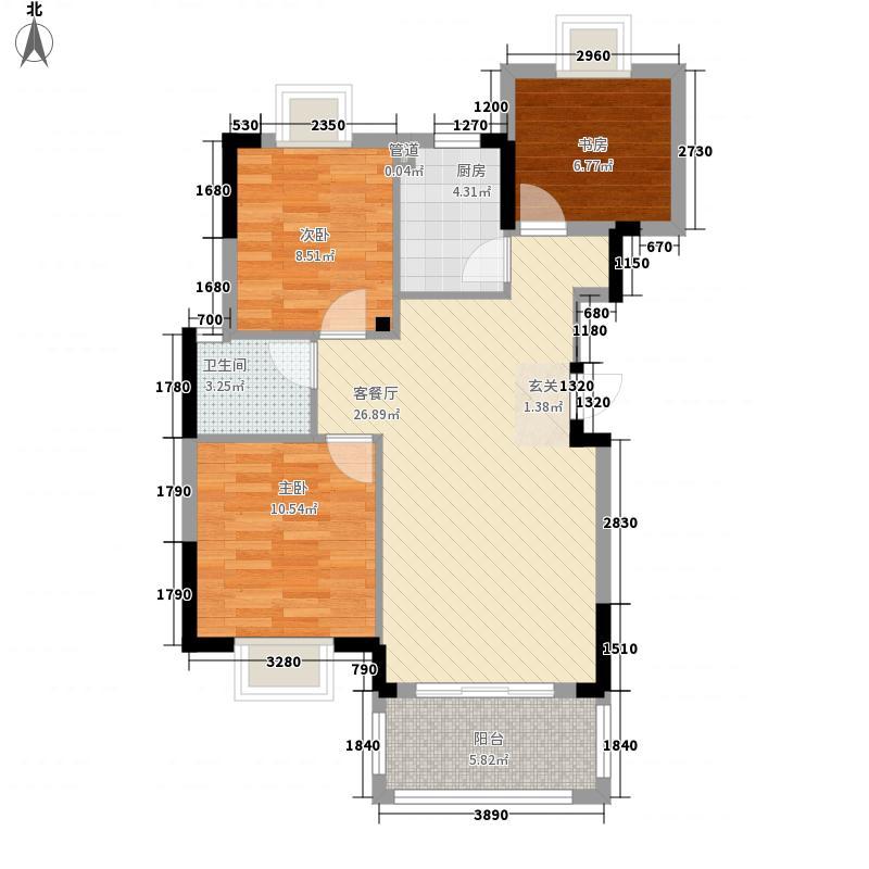恒通华庭高层C1户型3室2厅1卫1厨