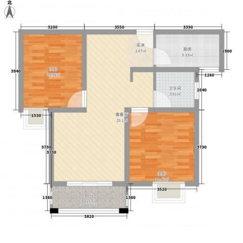 天景名城2室1厅1卫1厨88.00㎡户型图