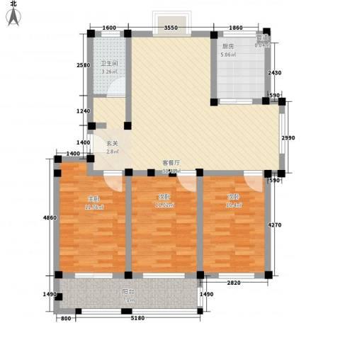 舜华园3室1厅1卫1厨115.00㎡户型图