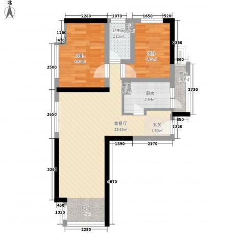 种子公司宿舍2室1厅1卫1厨68.00㎡户型图