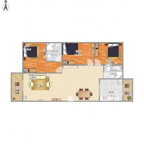 华凯花园3室1厅2卫1厨129.00㎡户型图