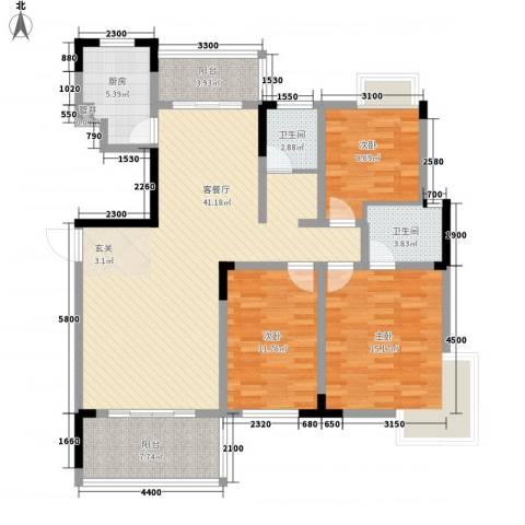 大地紫金城3室1厅2卫1厨135.00㎡户型图