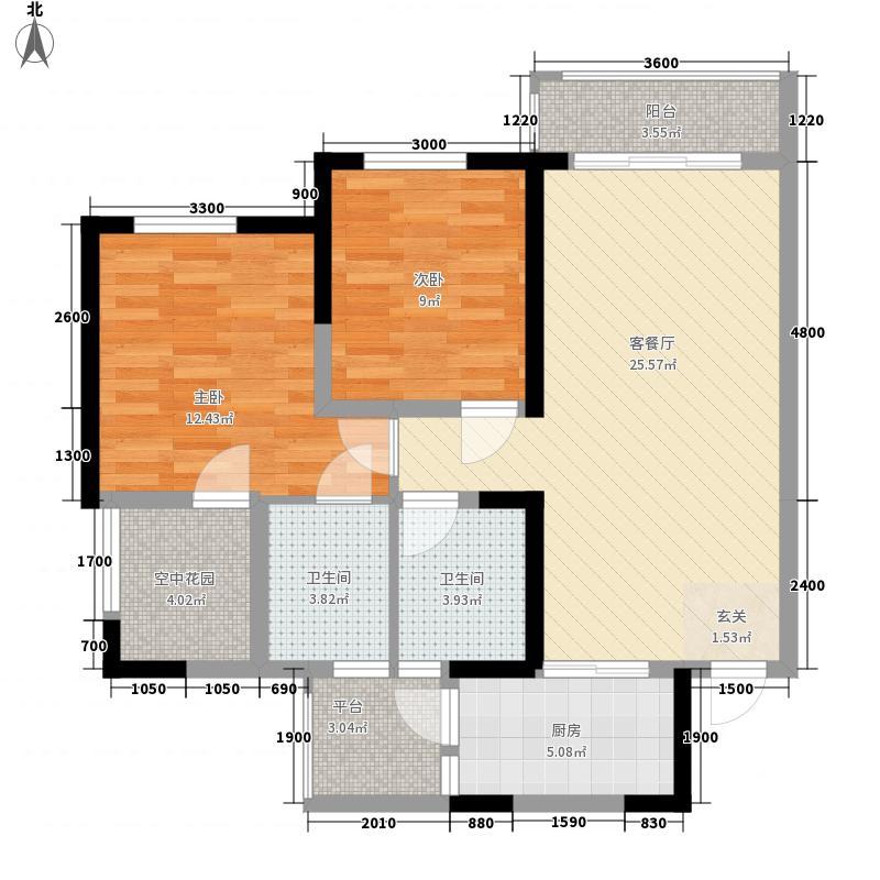 丽雅时代85.00㎡户型2室2厅2卫1厨