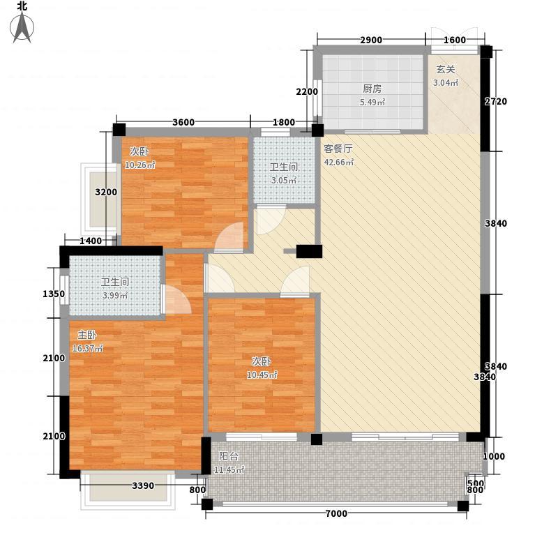 裕达・金湖城12.10㎡A户型3室2厅2卫1厨
