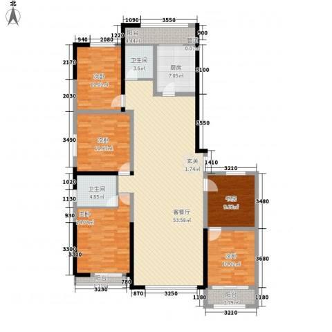 天一华府5室1厅2卫1厨134.44㎡户型图