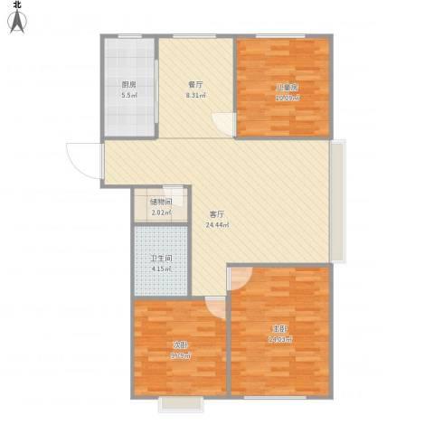 悦城华府3室2厅1卫1厨105.00㎡户型图