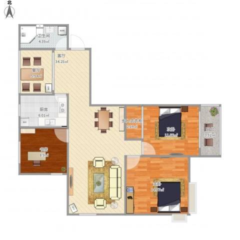 泰恒华府3室2厅1卫1厨124.00㎡户型图