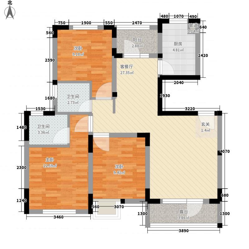 金地格林小城111.41㎡一期洋房7楼A-4户型3室2厅2卫1厨