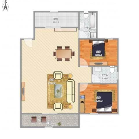 望佳一村2室1厅2卫1厨115.00㎡户型图