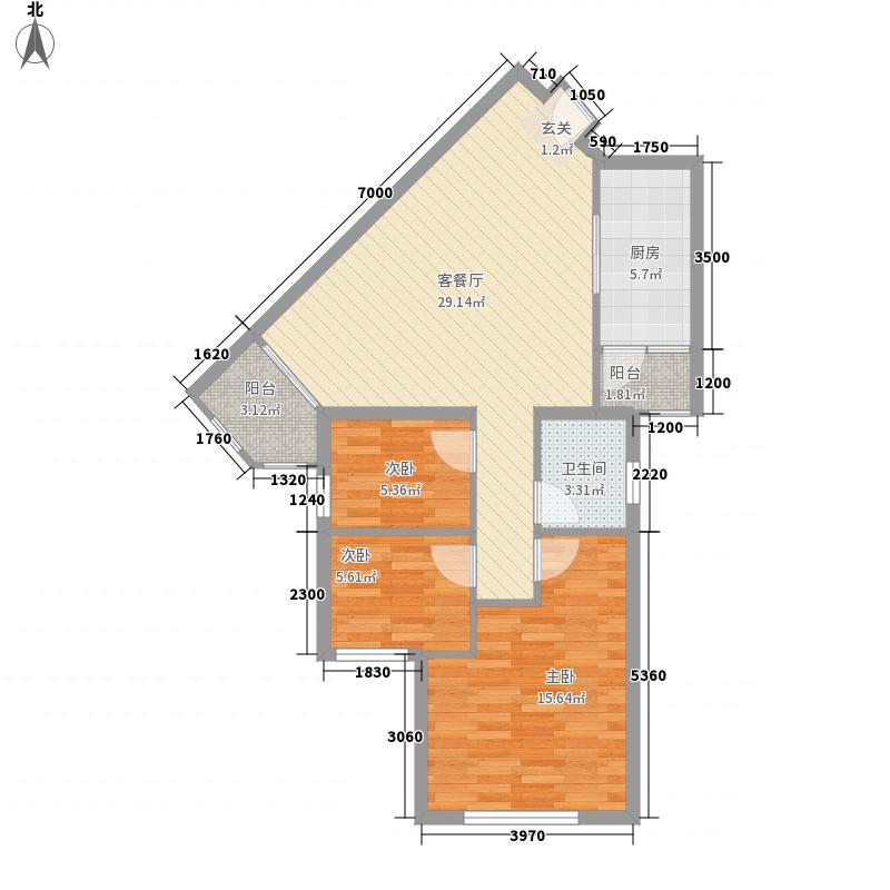 江兆豪庭03户型 3室2厅1卫1厨 105.17㎡
