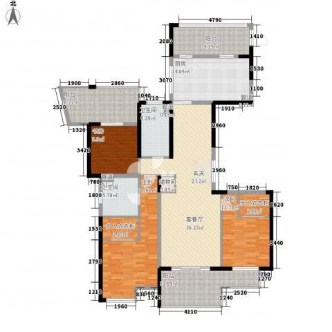山水名家3室1厅2卫1厨143.00㎡户型图