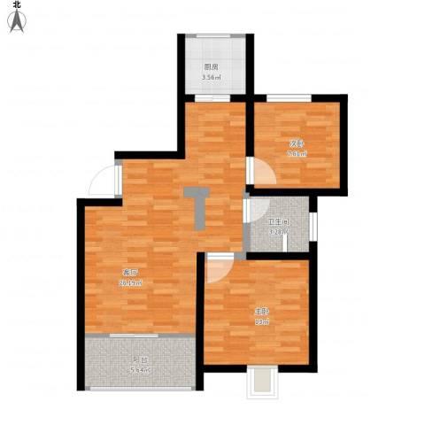 科大景园2室1厅1卫1厨66.22㎡户型图