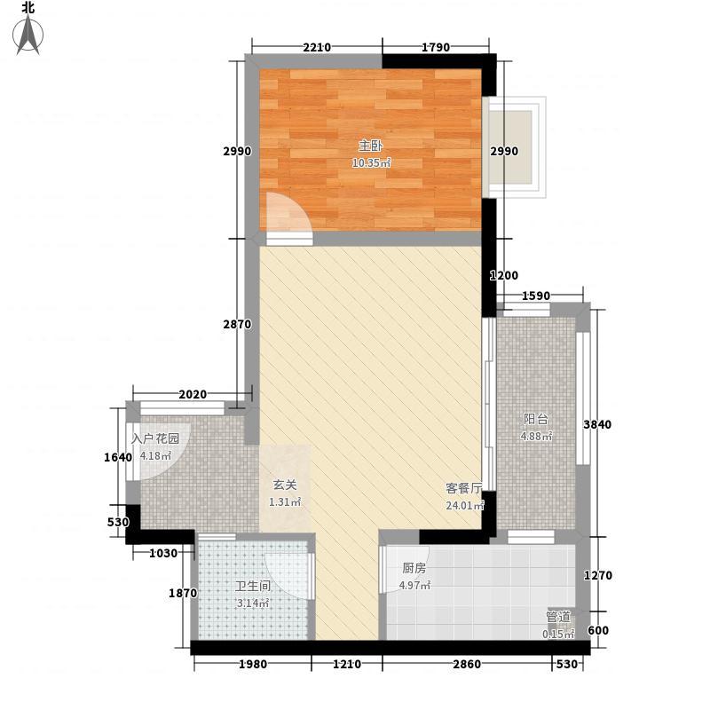 鲁能海蓝福源・依澜湾5.00㎡依澜湾组团公寓B户型1室2厅1卫1厨